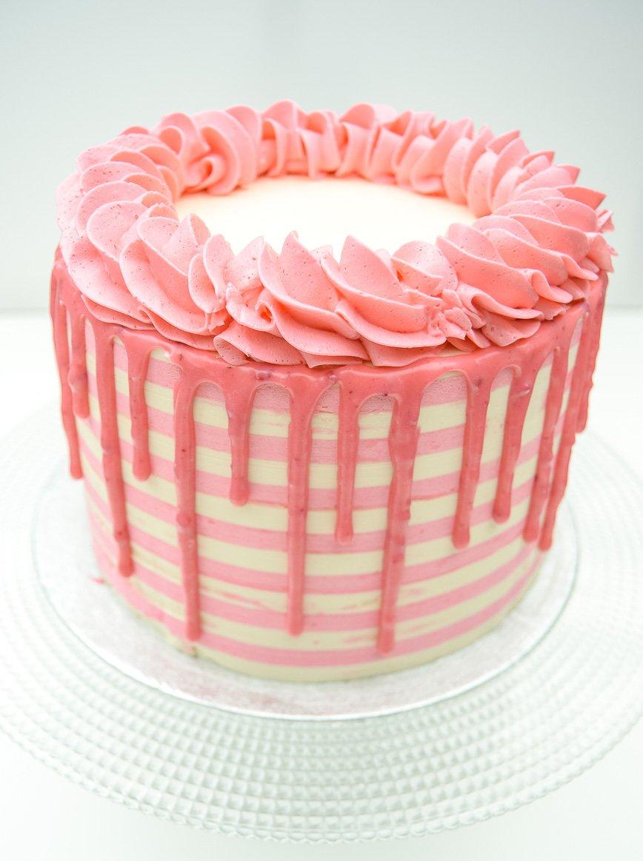 pink striped cake
