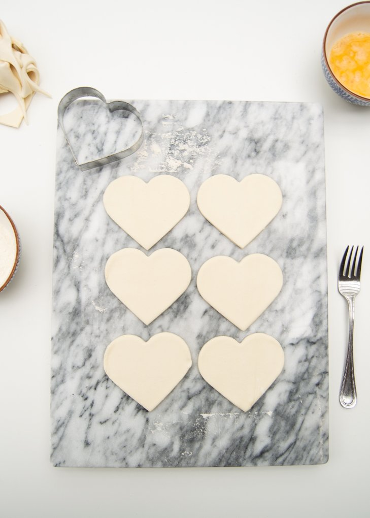 puff pastry heart cutouts
