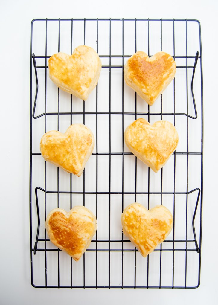 puff pastry hearts baked