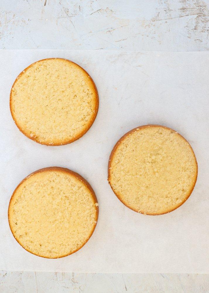 vanilla cake rounds baked